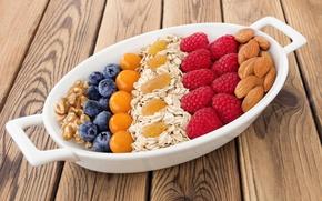 Картинка ягоды, малина, черника, орехи, fresh, миндаль, blueberry, berries, raspberry, овсяные хлопья