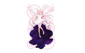 Картинка арт, девочка, белый фон, Mahou Shoujo Madoka Magica, Девочка-Волшебница Мадока