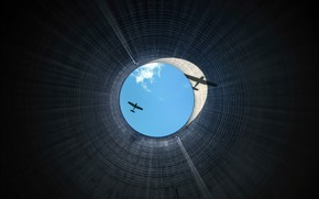Картинка небо, труба, самолёт