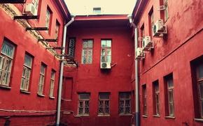 Картинка city, дом, здание, red, windows, europe, architecture, belarus, cityscape, минск