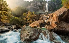 Картинка Природа, Водопад, Скалы, Река, Камни, Пейзаж