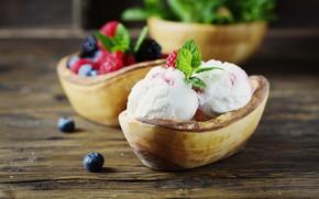 Картинка ягоды, мороженое, мята, десерт, wood, Oxana Denezhkina