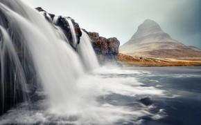 Картинка гора, водопад, Исландия, Киркьюфетль