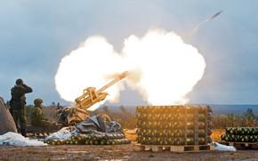 Картинка огонь, выстрел, солдаты, ствол, пушка, снаряд, артиллеристы