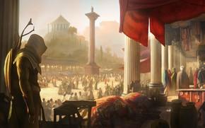 Обои fantasy, game, square, Egypt, Ubisoft, people, Assassin's Creed, weapons, digital art, artwork, shield, fantasy art, ...