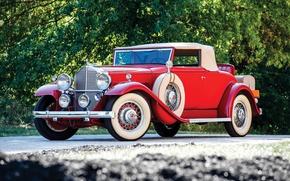 Картинка авто, красный, ретро, Roadster, Coupe, Packard, Eight