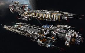 Картинка космос, планета, корабли, Fractured Space, USR Disruptor