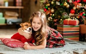 Картинка радость, елка, собака, девочка, подарки, Новый год
