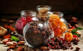 Картинка еда, орехи, миндаль, изюм, инжир, курага, сухофрукты