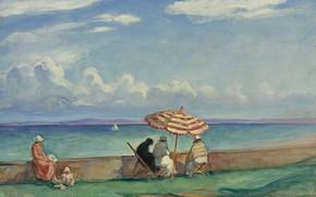 Картинка пейзаж, картина, Henri Lebasque, Анри Лебаск, Зонт на Террасе в Моргате