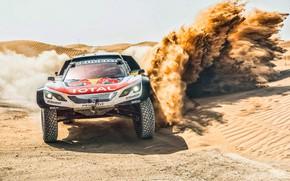 Обои Песок, Авто, Спорт, Машина, Скорость, Гонка, Peugeot, Фары, Red Bull, Rally, Dakar, Дакар, Ралли, Sport, ...