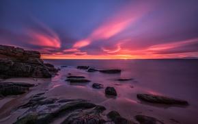 Картинка море, облака, камни, берег, Шотландия, зарево