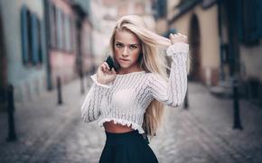 Картинка взгляд, улица, фигура, блондинка, длинные волосы, боке, Angela Paskevic