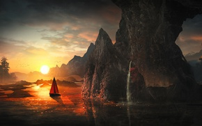 Картинка вода, солнце, свет, горы, река, восход, фантазия, скалы, лодка, арт, парус