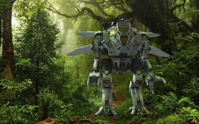Картинка лес, деревья, робот, тропа, Merlin Scout
