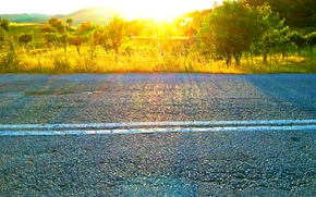 Картинка road, spring, Greece, sunlight effect