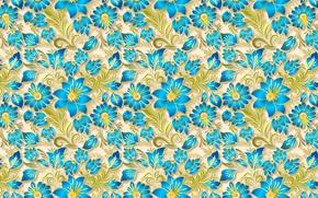Обои голубой, узор, золотой, цветы