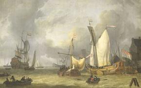 Обои масло, картина, парус, холст, морской пейзаж, Jan Claesz Rietschoof, Корабли в Гавани. Свежий Ветер