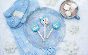 Картинка зима, снег, снежинки, шарф, чашка, напиток, варежки, горячий шоколад, маршмеллоу, marshmallows