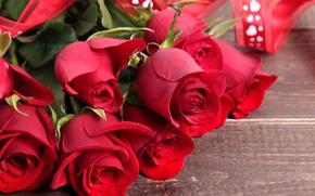 Обои красные розы, heart, love, roses, valentine's day, romantic, букет, red