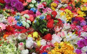 Картинка много, разные, искуственные цветы, весна 2018, Mamala ©