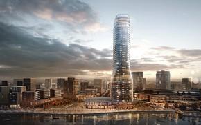 Обои Pedro Fernandes, город, река, небоскрёб, здания, архитектура, Belgrade Tower Visualization