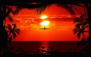 Обои закат, силуэт, Солнце, море, самолет