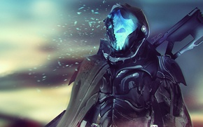 Обои фантастика, солдат, броня, cyberpunk, киборг, плащ, смерть, оружие