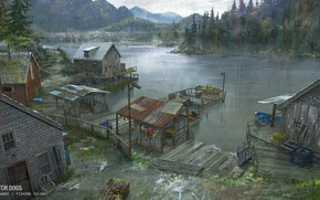 Обои fishing island, лес, горы, Watch Dogs - environments, водоём