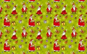 Обои веселье., юмор, Новый год, настроение, шарж, арт, доброта, праздник, подарки, дед мороз