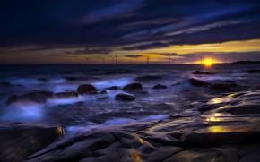 Обои закат, ночь, берег, море, ветряки