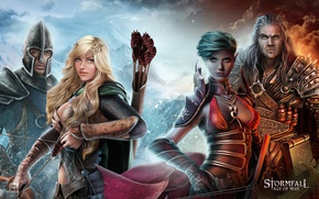 Картинка game, armor, elf, bow, warrior, helmet, arrow, oppai, mahou, Stormfall: Age Of War