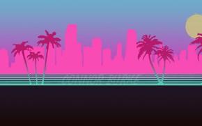 Обои Город, Неон, Пальмы, Силуэт, Фон, Hotline Miami, Synthpop, Darkwave, Synth, Retrowave, Synthwave, Synth pop