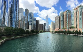 Картинка City, Chicago, Water, Architecture