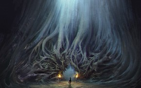 Картинка корни, факелы, вход, Love O2O Hollow concept