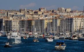Картинка море, лодка, Франция, дома, яхта, Марсель