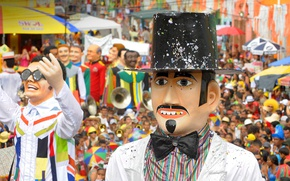 Картинка карнавал, Бразилия, гигантские марионетки, Пернамбуко, Олинда