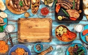 Картинка пиво, мясо, барбекю, овощи, wood, meat, гриль, grilled