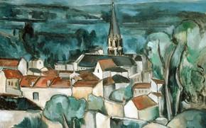 Картинка город, дома, городской пейзаж, Морис де Вламинк, Буживаль