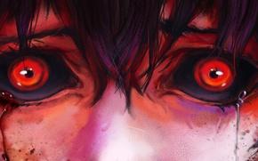 Картинка страх, ужас, боль, красные глаза, кровавые слезы, Tokyo Ghoul, Hinami Fueguchi, Токийский Монстр
