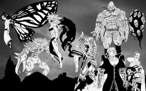 Картинка аниме, персонажи, Nanatsu no Taizai, Семь смертных грехов, монохромная