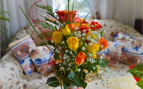 Картинка Комната, Букет, Розы, Roses, Bouquet