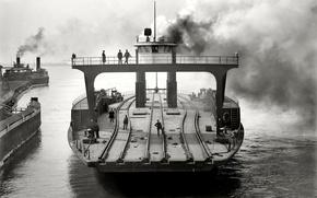 Картинка ретро, корабль, США, паром