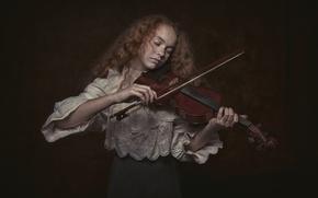 Обои скрипка, девочка, Violin girl
