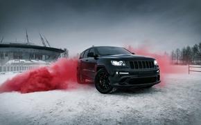 Картинка car, машина, city, тачка, srt, санкт-петербург, cars, auto, smoke, bridge, winter, jeep, grand cherokee, jeep …