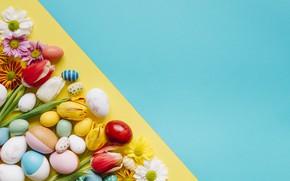 Картинка фон, праздник, яйца, Пасха, тюльпаны