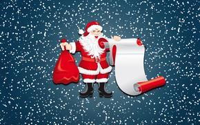Картинка Зима, Минимализм, Снег, Фон, Новый год, Санта, Праздник