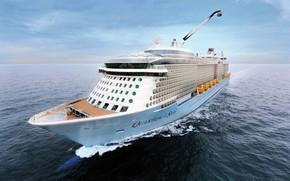 Картинка Море, Белый, Лайнер, Судно, Пассажирский, Бак, Пассажирский лайнер, Quantum of the Seas