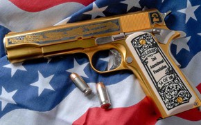 Обои пистолет, М1911, кастом, engraving, gun, American Flag, custom, M1911, золотой, golden, weapon, гравировка, Американский Флаг, ...