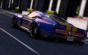 Обои Mustang, автомобиль, Grand Theft Auto V, дорога, GTA V., скорость, Rockstar Games
